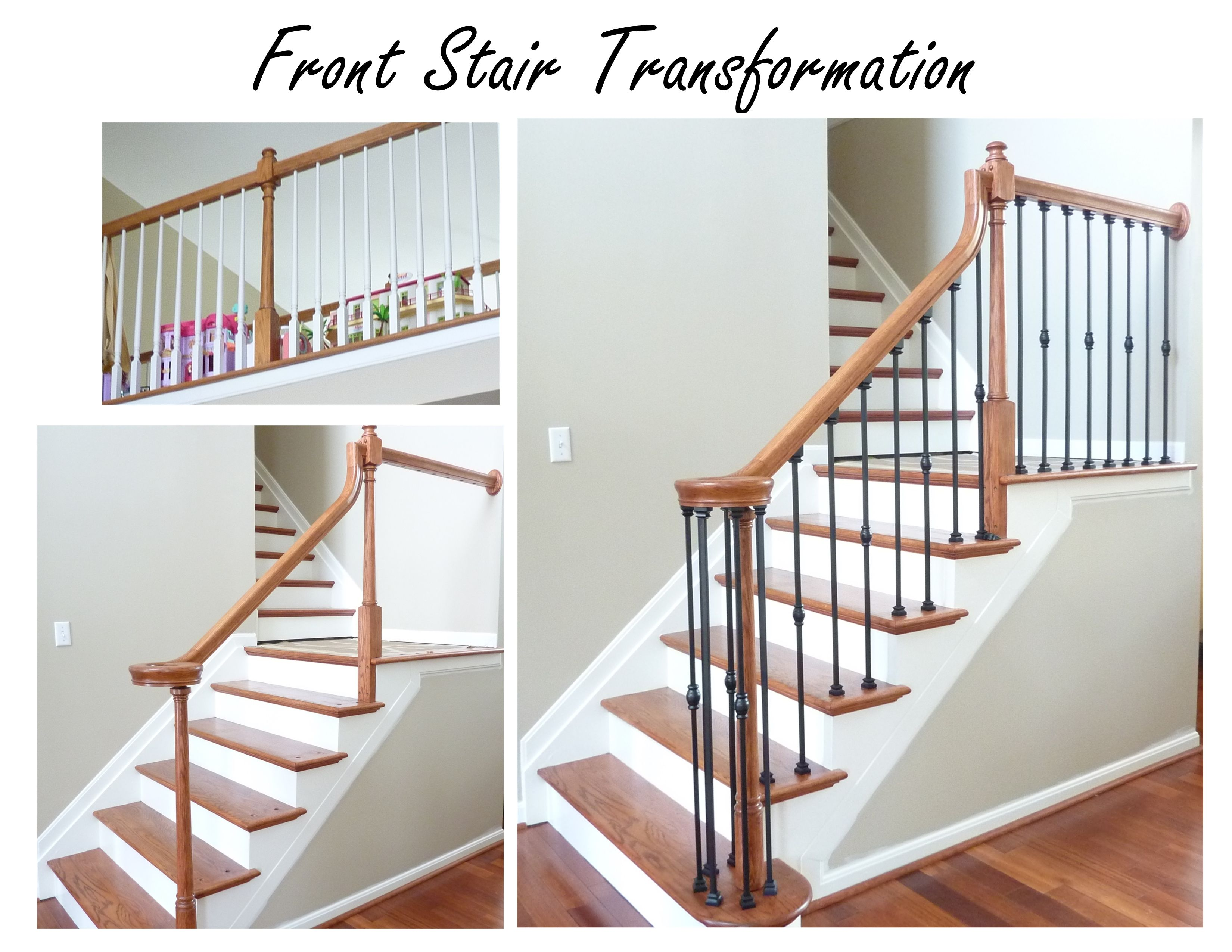 Attrayant Front Stair Update   No Link   From Golden Oak With White Colonial Spindles  To Stain To Match Floors And Iron Spindles. Still To Do, Hardwood On  Landing, ...