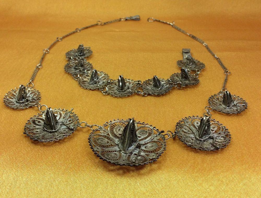 Vtg 925 Sterling Filigree TAXCO Necklace Bracelet Earring Set