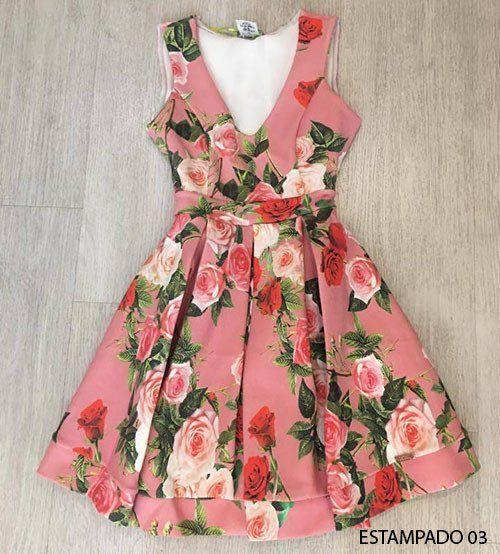 8d47b8cd8 Dress Us Vestido estampado com decote e com cinto Ref:0203-1903 ...