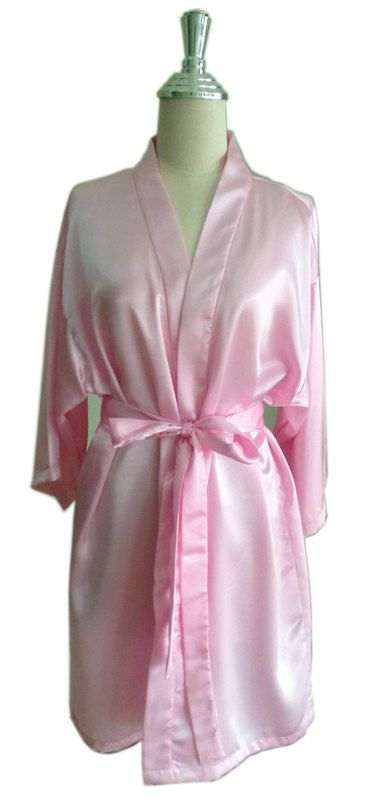 Light Pink Satin Bridesmaids robes Kimono Crossover Robes Spa Wrap Perfect  bridesmaids gift d105c9d6f