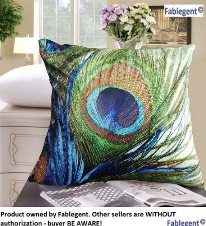 Fablegent XH1 - Elegant Decorative Throw Pillow Cover - Peacock Feathers Design on Both Sides - Return Shipping Covered for Continental US Regions