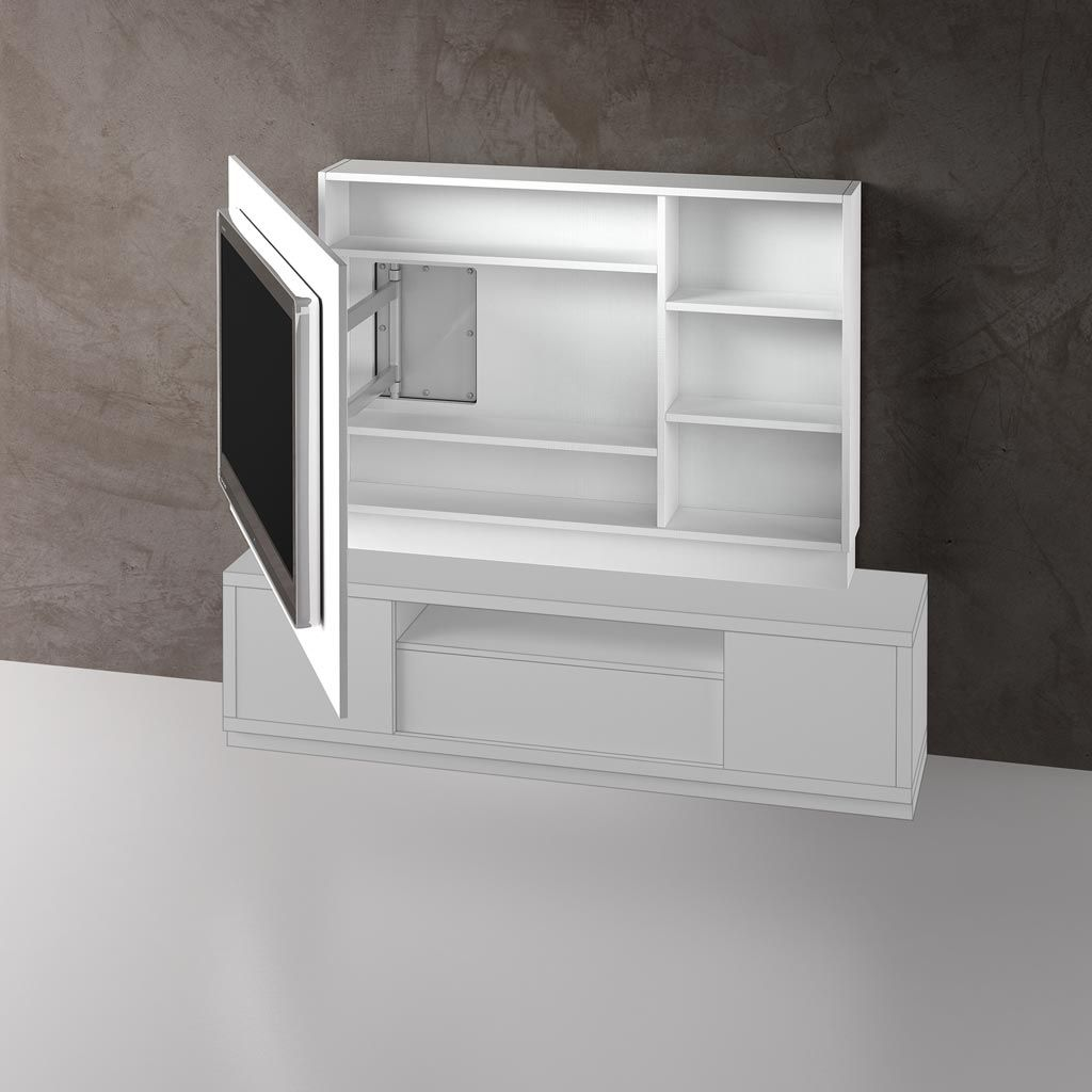 Panel tv giratorio 1524 abierto living pinterest for Mueble giratorio tv