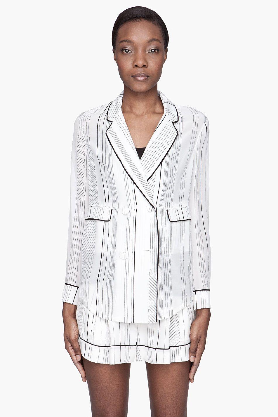 8c054406f8c97d 3.1 Phillip Lim White Silk Piped Pajama Blouse - 3.1 Phillip Lim ...