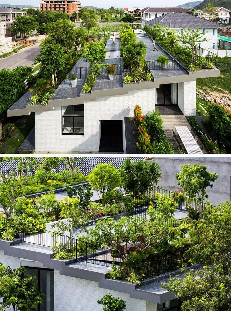 Gestufter Dachgarten Mit Pflanzen Und Bäumen | Green Roofs ... Pflanzen Fur Dachbegrunung Dachgarten
