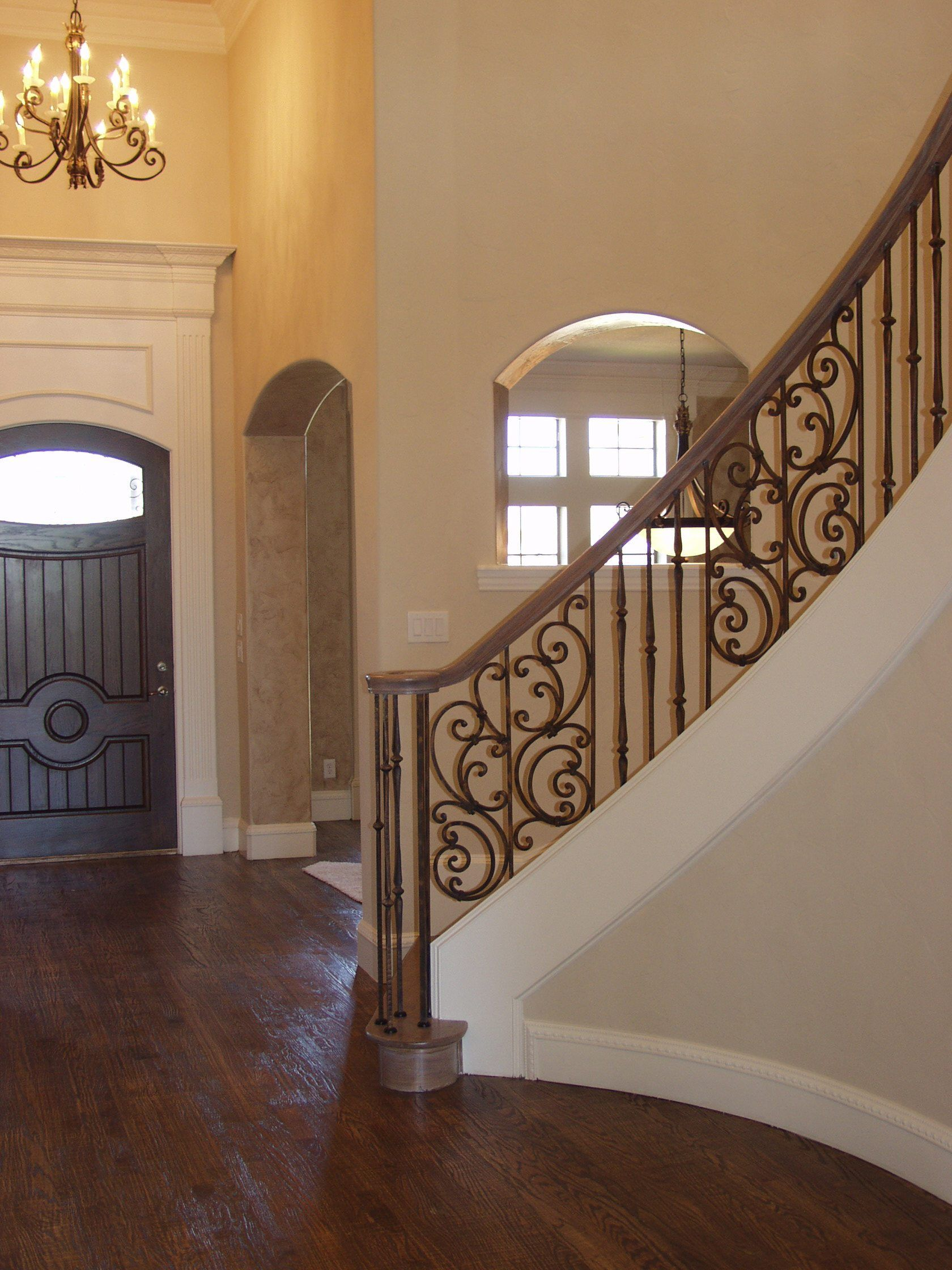 Tuscany D2 Curved Angled Iron Stair Railing Wrought Iron Stair Railing Wrought Iron Stairs