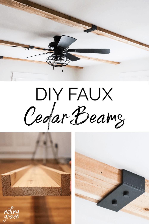 Diy Faux Cedar Beams In 2020 Ceiling Beams Living Room Faux Ceiling Beams Faux Beams