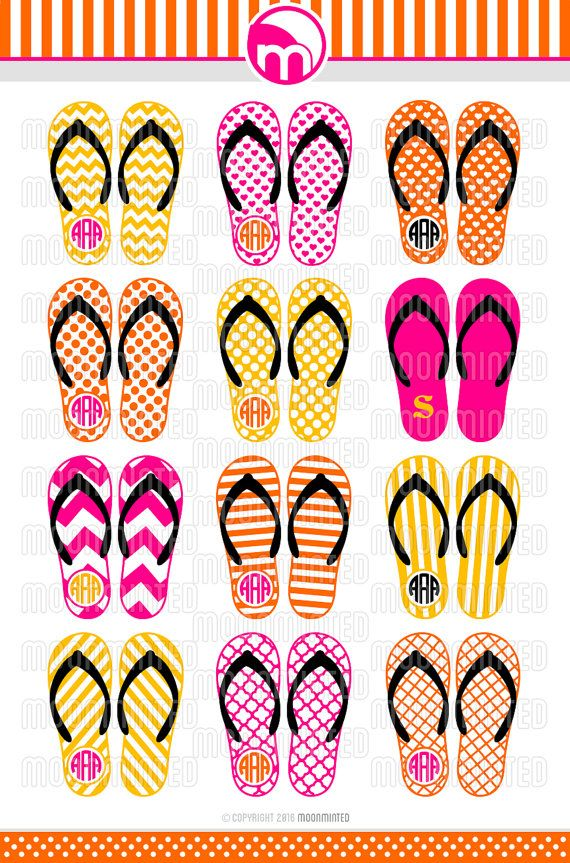 Summer Flip Flops SVG Cut Files - Monogram Frames for Vinyl Cutters ...