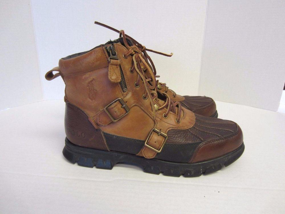 Polo Boots 11 1/2 D Brown Leather Demond Ralph Lauren Mens #PoloRalphLauren #SnowWinter