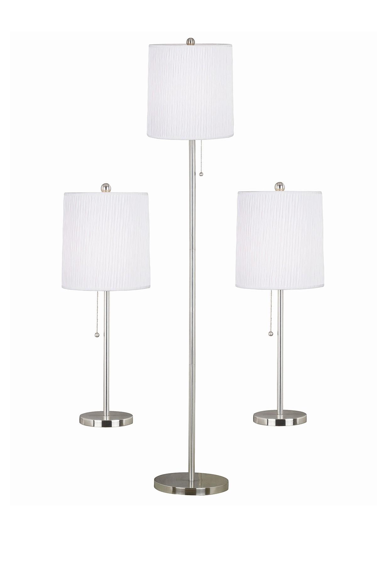 3 lamp set piece table design craft ella brushed steel finish table floor lamp set of