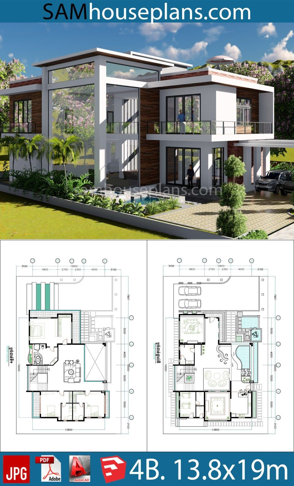 4 Bedroom Home Plan 13 8x19m Sam House Plans Contemporary House Plans Beach House Plans House Layout Plans