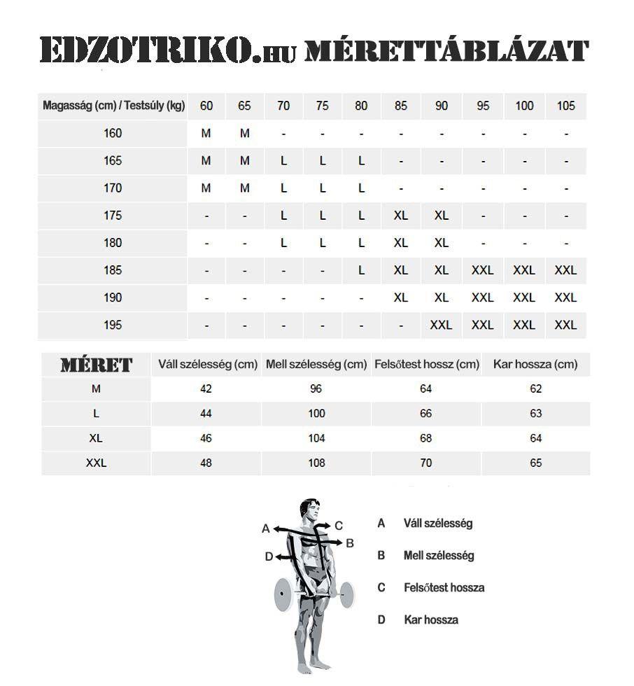 mérettáblázat www.edzotriko.hu