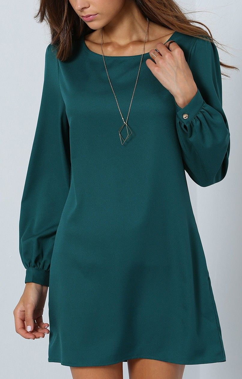 Army green long sleeve casual dress in kiss u make up girl