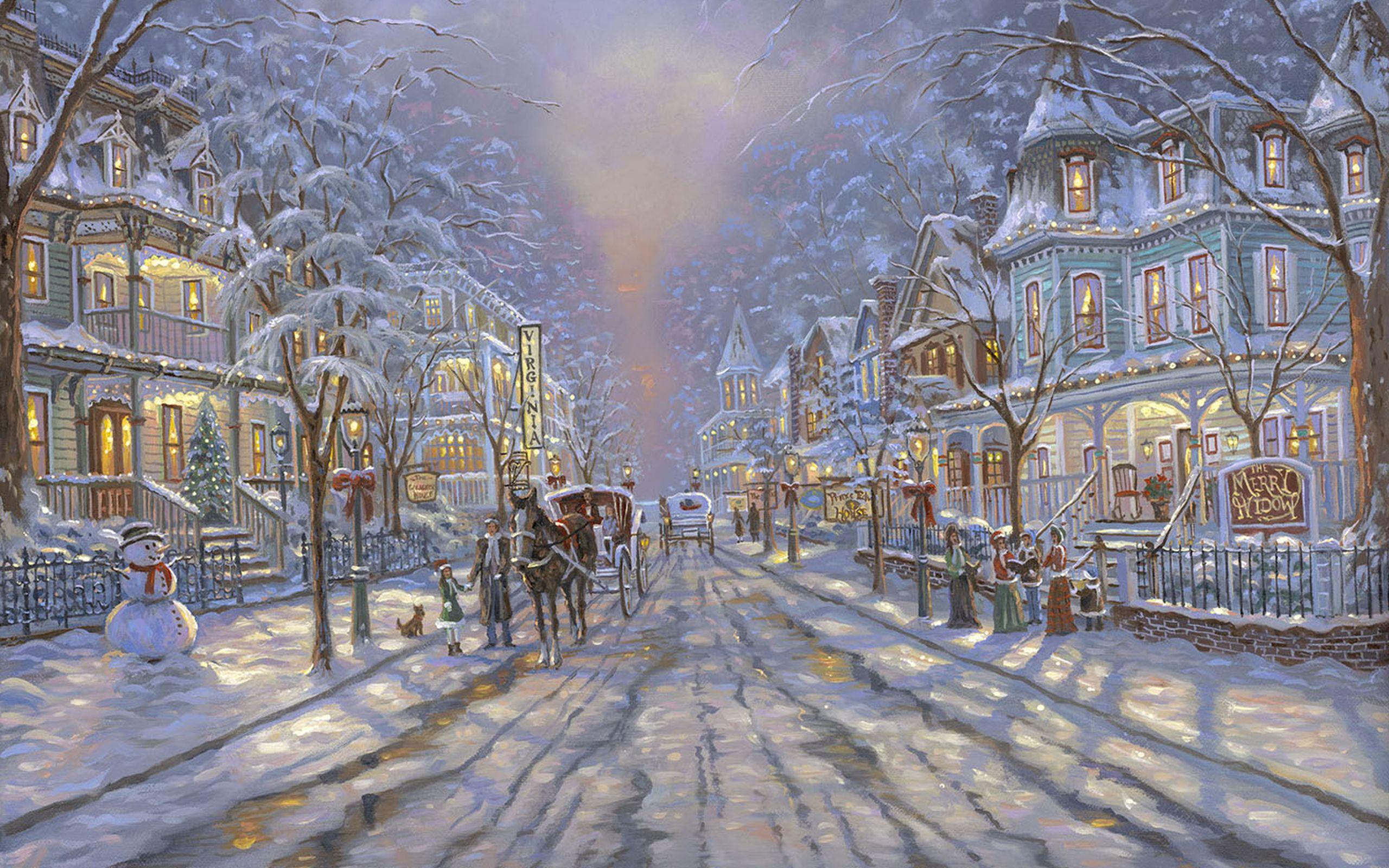 Christmas Paintings Wallpaper Wallpaper Painting Christmas Street Cottages Free Desktop Wallpape Winter Painting Winter Wallpaper Desktop Winter Wallpaper