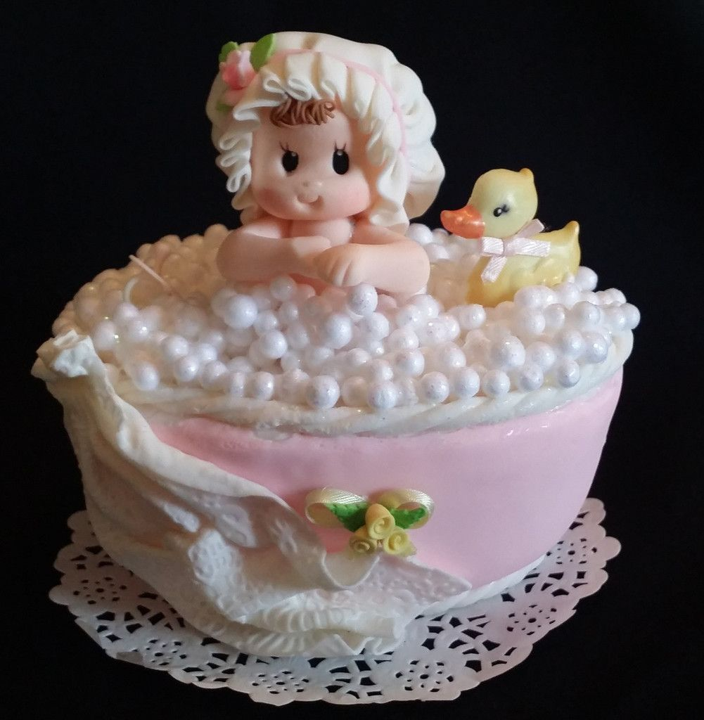 Baby Shower Decorated Cakes: Baby On Bathtub Cake Topper Baby Shower Cake Topper Baby