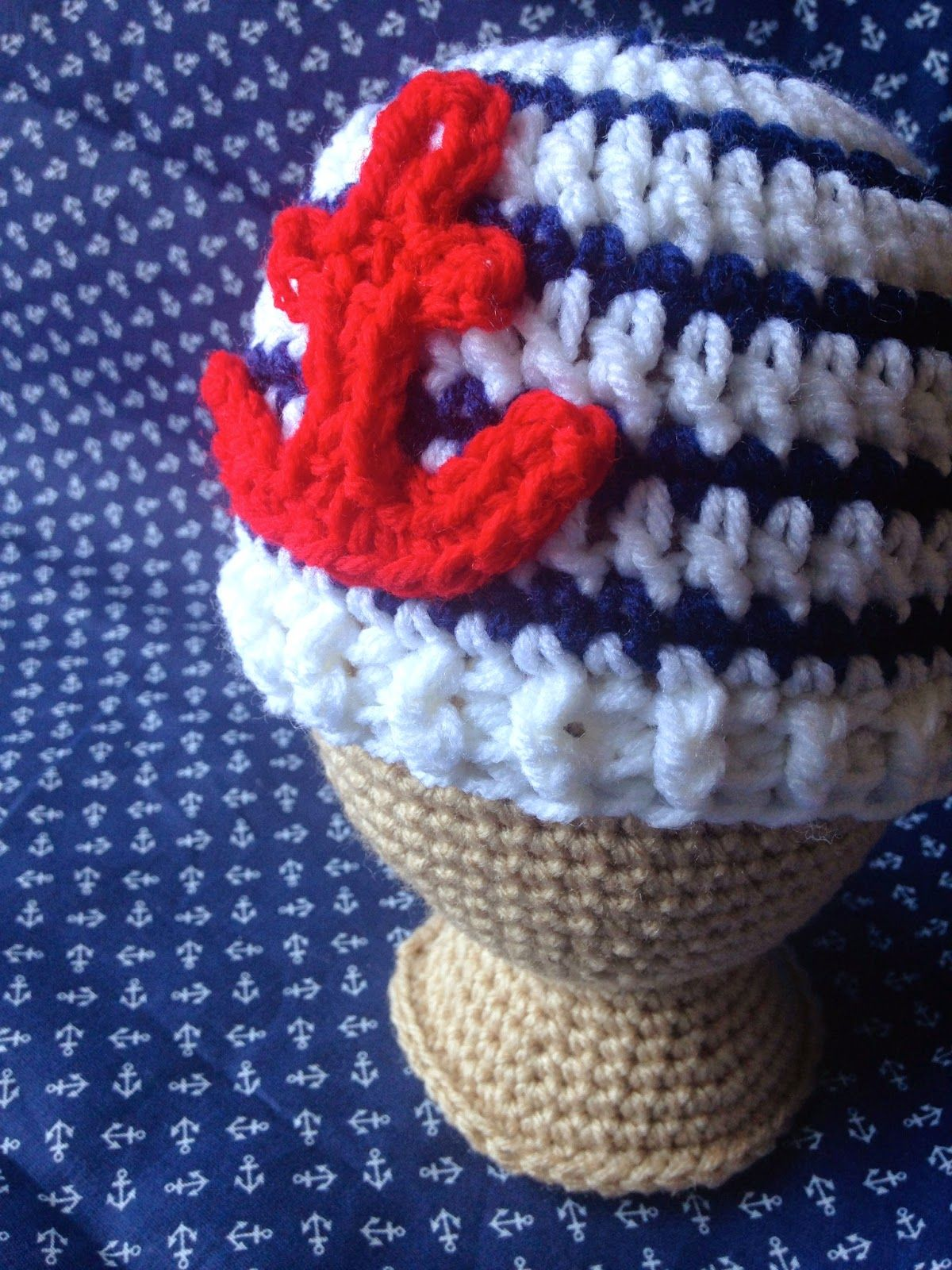 five little monsters  Free Crochet Pattern- Anchor Baby Hats ... 6a61030be99c