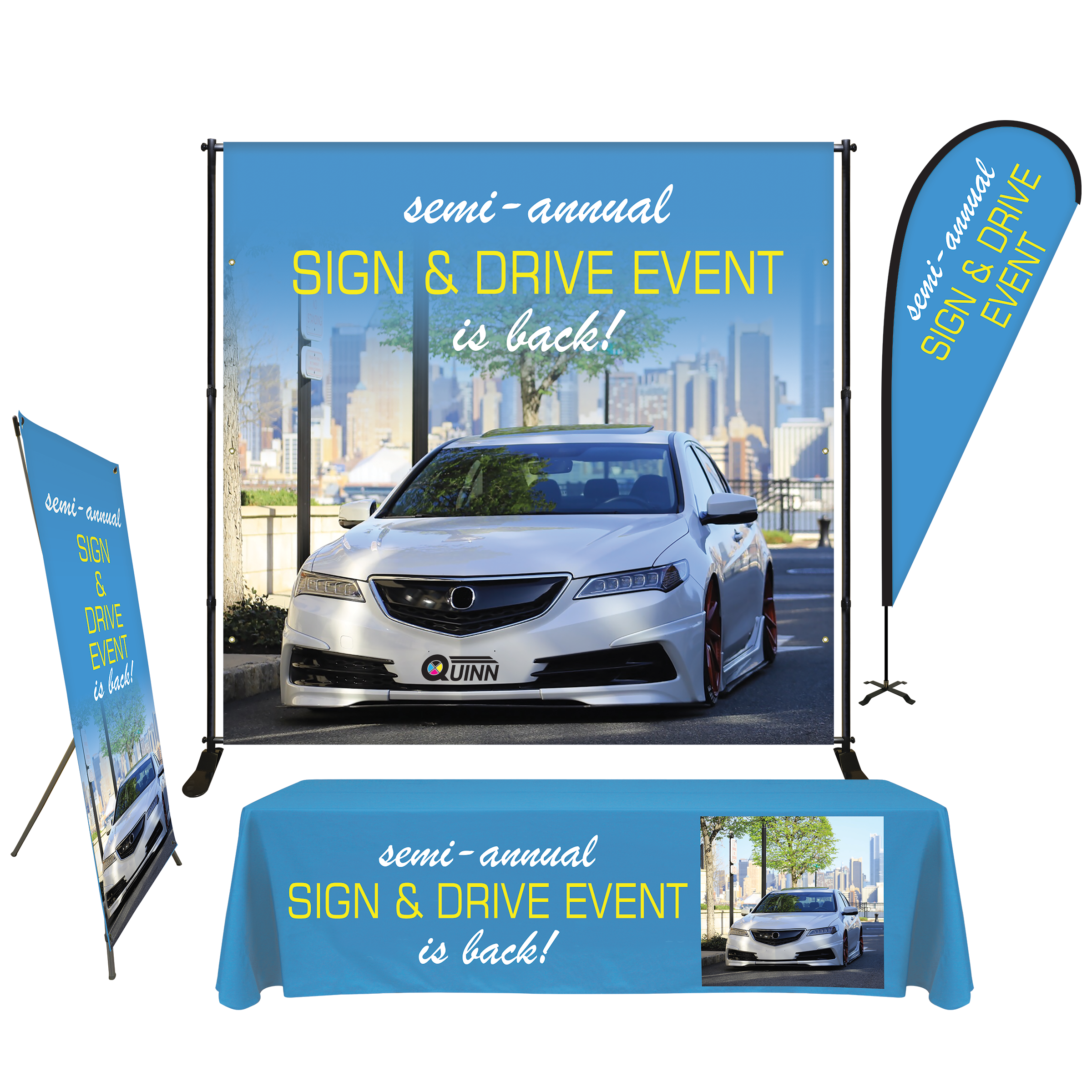 Quinn Promotional Display Packages Give You Everything You Need To Promote Your Next Sales Event Or Dealership Event Sign Signs Event Trade Show Display