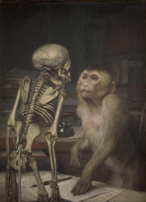 Monkey Before Skeleton. Gabriel von Max, 1900.