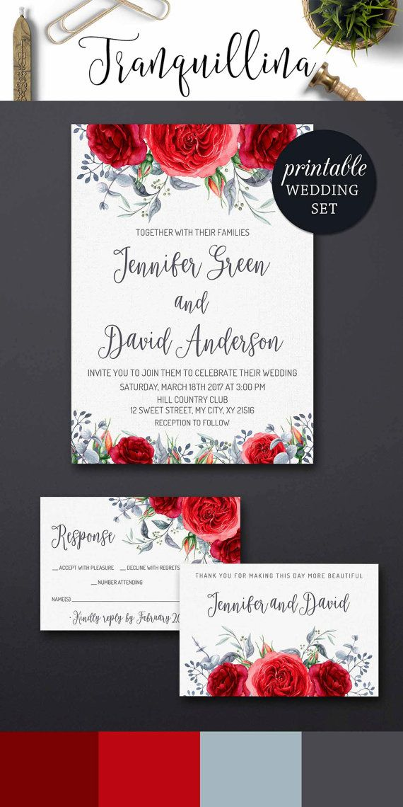 Printable Wedding Invitation Set Floral Wedding Invitation Suite