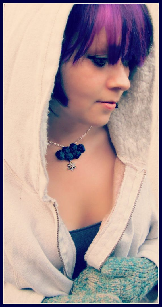Navy Winter Cloud with Snowflake Crochet  Necklace  by Labyrinthia, $25.00