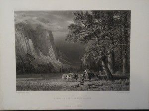 Steel plate engraving of A Halt in the Yosemite Valley, c.1880.