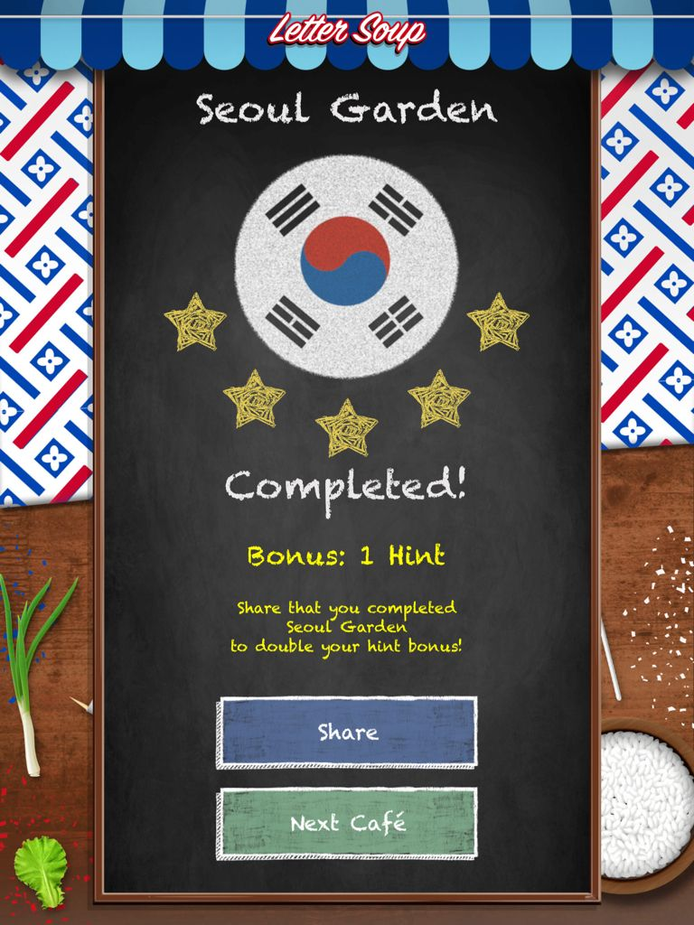 I just completed seoul garden in letter soup download