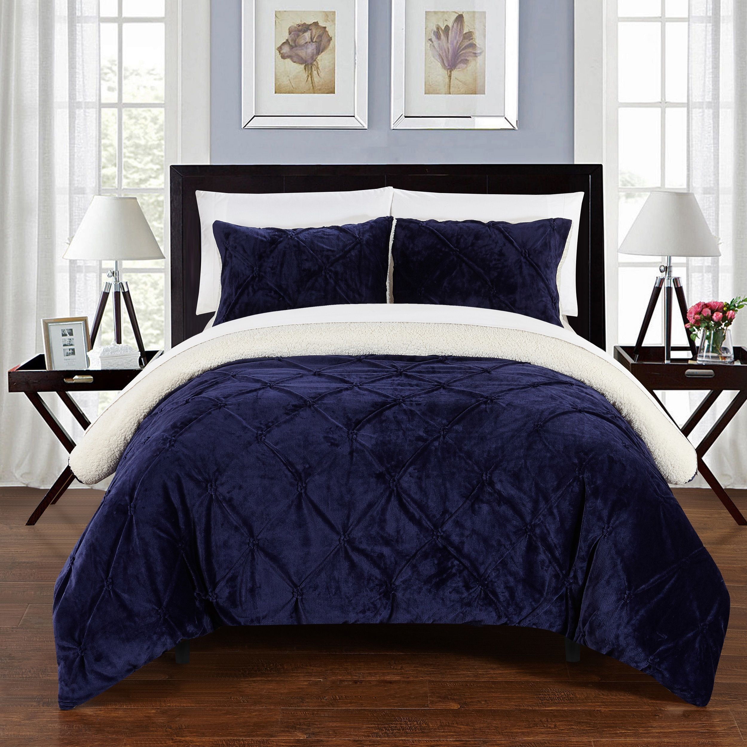 Chic Home 3 Piece Chiara Bed In A Bag Navy Comforter 3