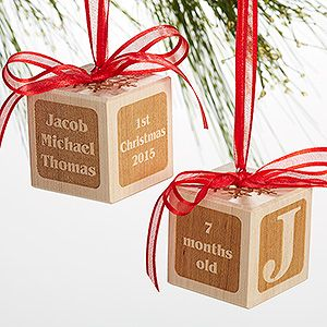 Babys 1st christmas personalized wood block ornament ornament babys 1st christmas personalized wood block ornament negle
