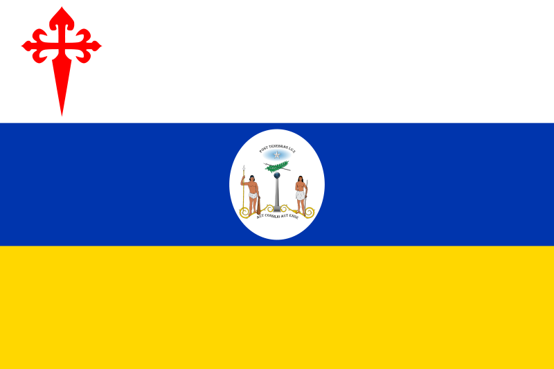 Flag Of Patria Vieja 1812 1814 Alternative Version With The First Chilean Shield Cross Of Santiago And Reversed Blue And White Stripe Chile Flag Flag Chile