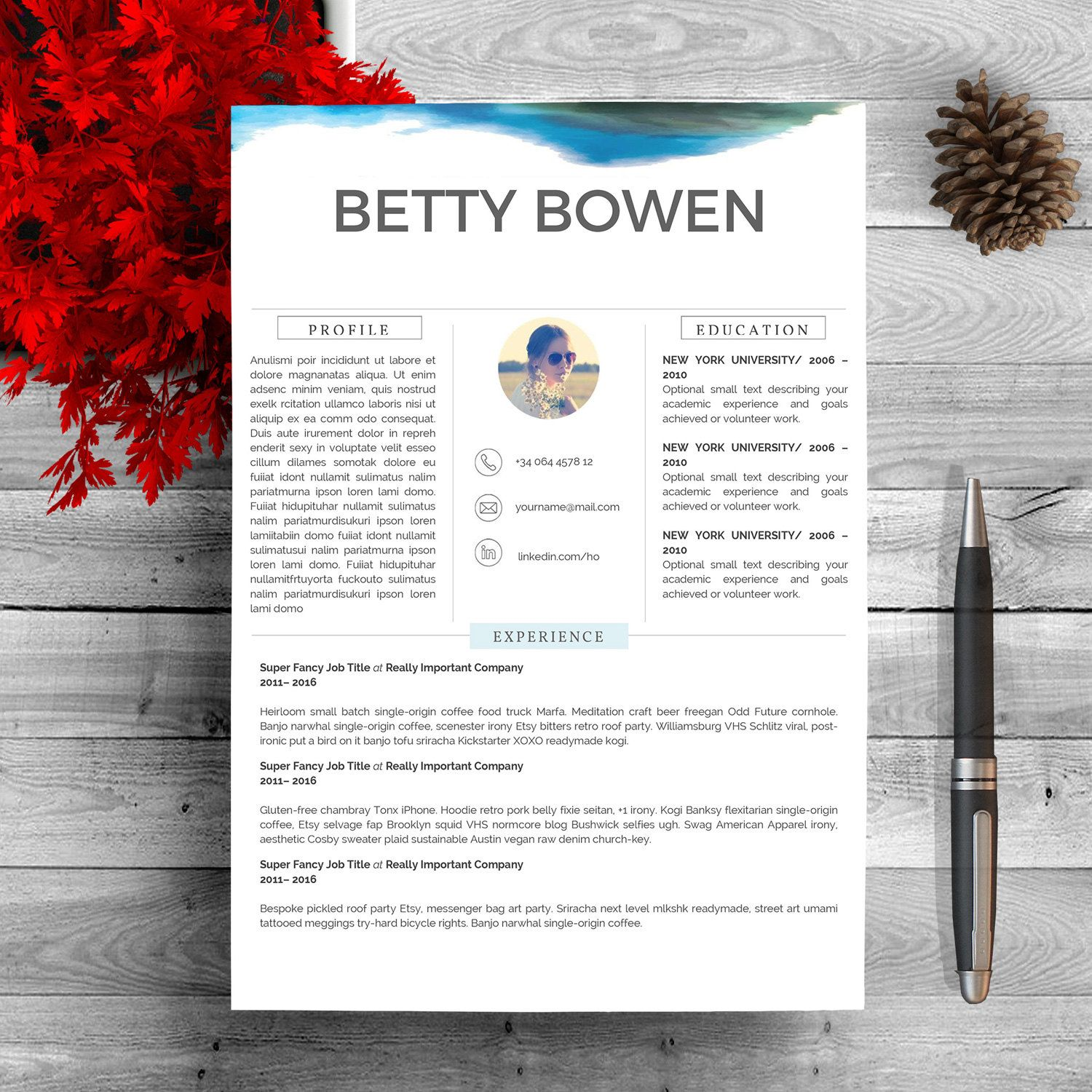 Resume Template For Word     Pageprofessional Resume Template