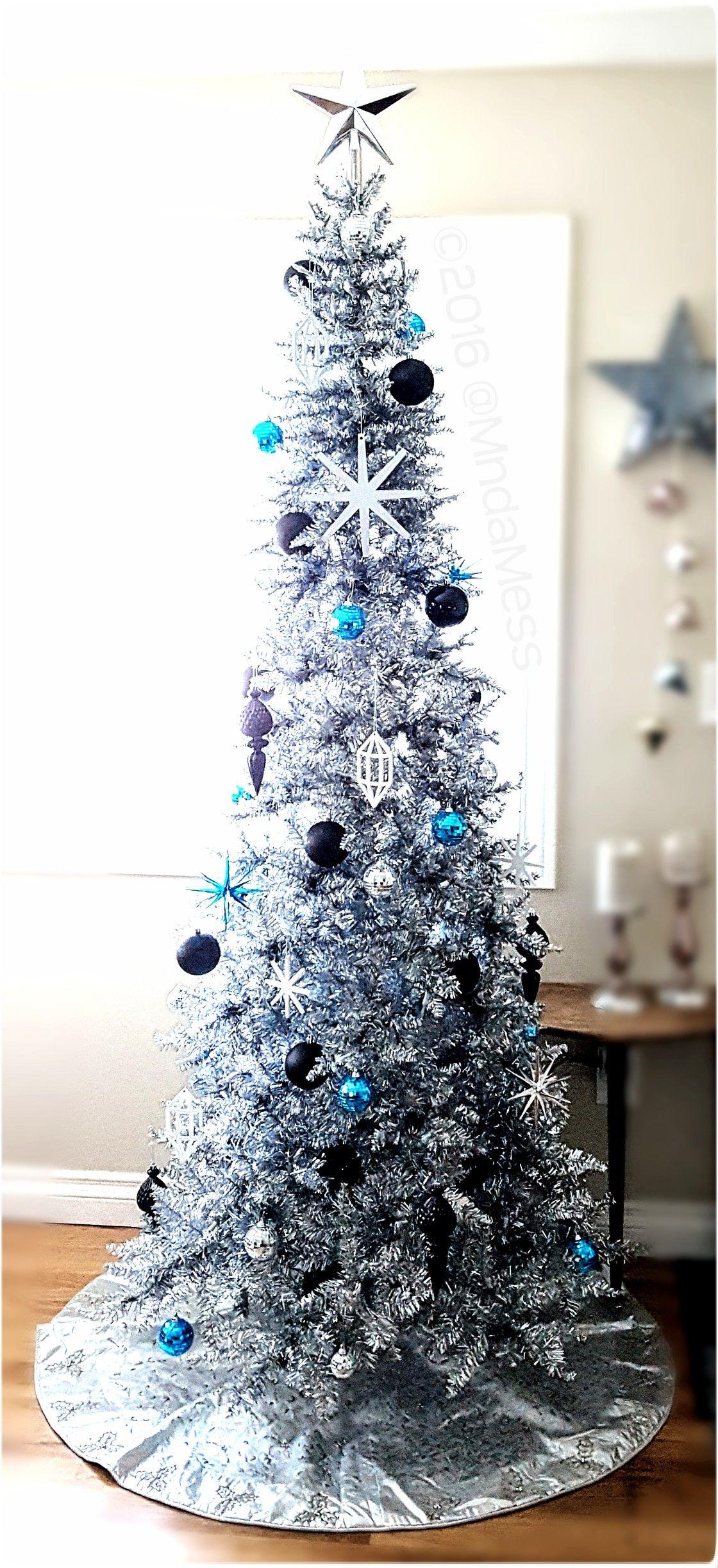 Narrow Silver Christmas Tree W Black Blue White Silver Ornaments 2016 White Christmas Tree Decorations Silver Christmas Tree Christmas Tree Colour Scheme
