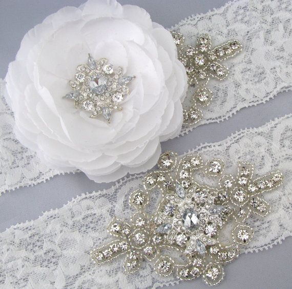 Flower Wedding Garter Set White Lace Rhinestone Crystal Bridal Keepsake And Toss Garters Something Blue