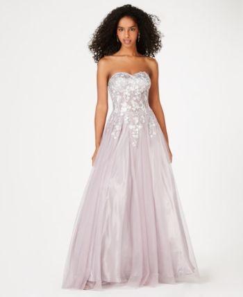 Blondie Nites Juniors Embroidered Floral Gown Gray 15 Floral Gown Blondie Nites Womens Dresses