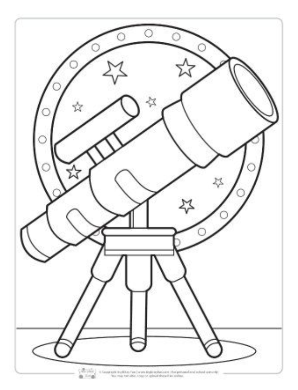 Space Coloring Pages For Kids 8211 Kids Coloring Telescopio Dibujo Libro De Fieltro Libros Para Colorear