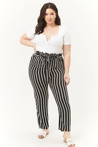 aea43f357 Plus Size Striped Paperbag Pants | Products in 2019 | Paperbag pants ...