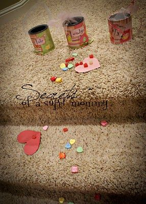 "Valentine's Gift Can's...1.I leave these cans sitting out at the top of the stairs so they are easy to grab and fill with TREATS.    2.I sprinkle paper hearts and candies from their rooms down the stairs to a Valentine Card from mom and dad and a little surprise left on their breakfast plates.   3.I thought it might be fun to write ""gifts of freedom"" on the backs of the paper hearts but I didnt do it this year. (Gifts of freedom such as ""you get to stay up 1/2 hour later than the other kids""…"