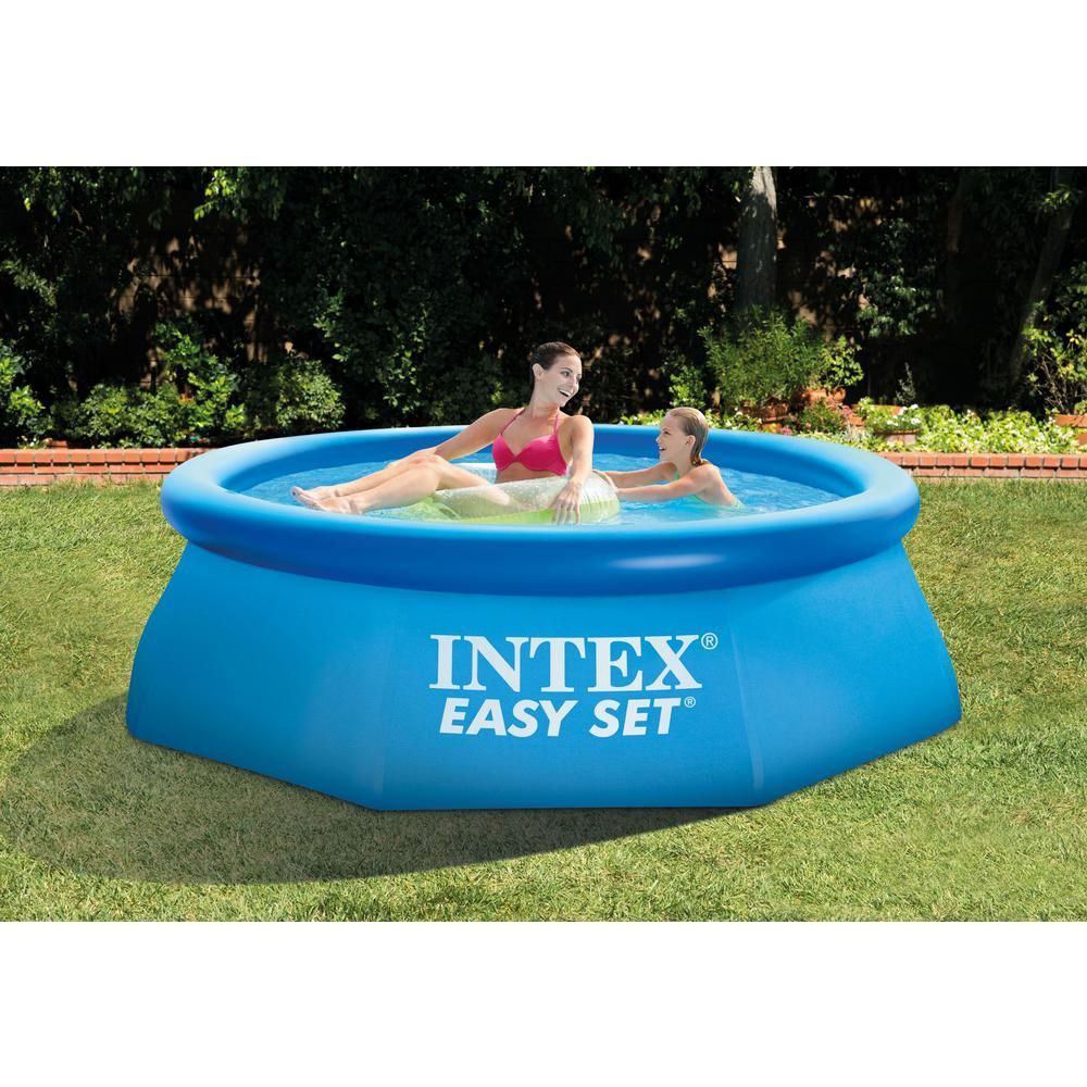 Intex 8 Ft X 30 In Easy Set Inflatable Pool With 330 Gph Pump And 6 Cartridges 28110eh 28601eg 6 X 29007e The Home Depot Inflatable Pool Intex Swimming Pool Easy Set Pools