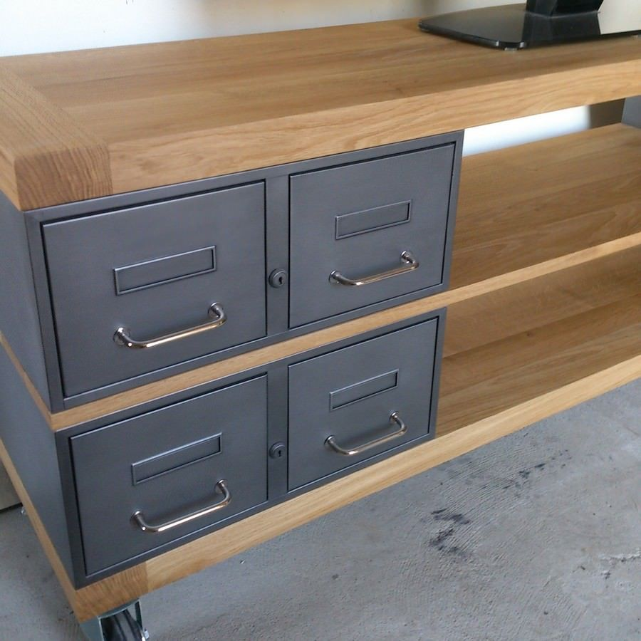 meuble tv en acier et chene furniture. Black Bedroom Furniture Sets. Home Design Ideas