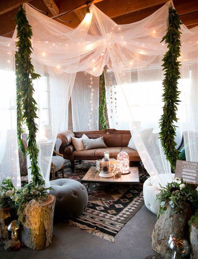 canopy fairy lights abundant plant life home sweet home pinterest haus wohnzimmer. Black Bedroom Furniture Sets. Home Design Ideas