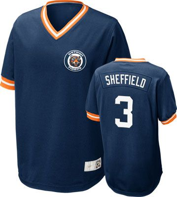 Detroit Tigers Gary Sheffield #3 Nike Navy Cooperstown V-Neck Player Jersey