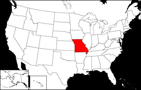 Missouri locator map, showing the location of Missouri in red on a black and white United States map.