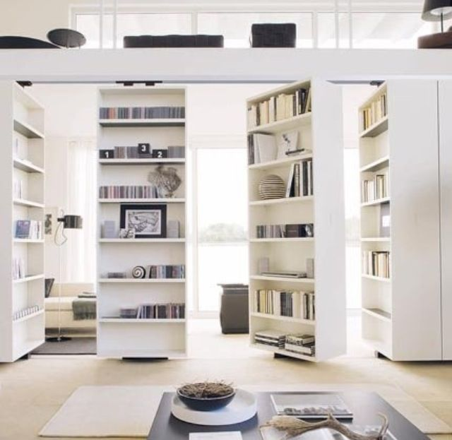 Rotating Bookshelf And Room Divider Glass