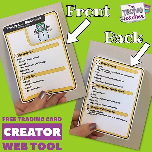 Have Students Use ReadWriteThinks FREE Trading Card Creator Web Tool To Make Cards For Characters In Stories Or Historical Figures