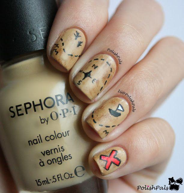 Treasure Map Nails | Nails and Polish | Pinterest | Map nails ...