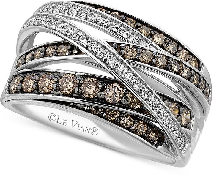 Levian Le Vian White 1 6 Ct T W And Chocolate 3 4 Ct T W Diamond Crossover Ring In 14k Whi White Gold Ring Band White Gold Rings Crossover Diamond Ring