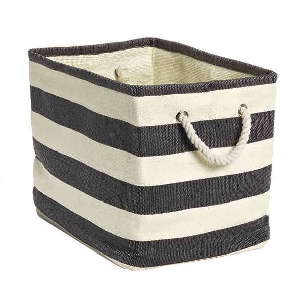 Charcoal Ivory Rugby Stripe Storage Bin With Rope Handles Container Store Bins Storage Bins