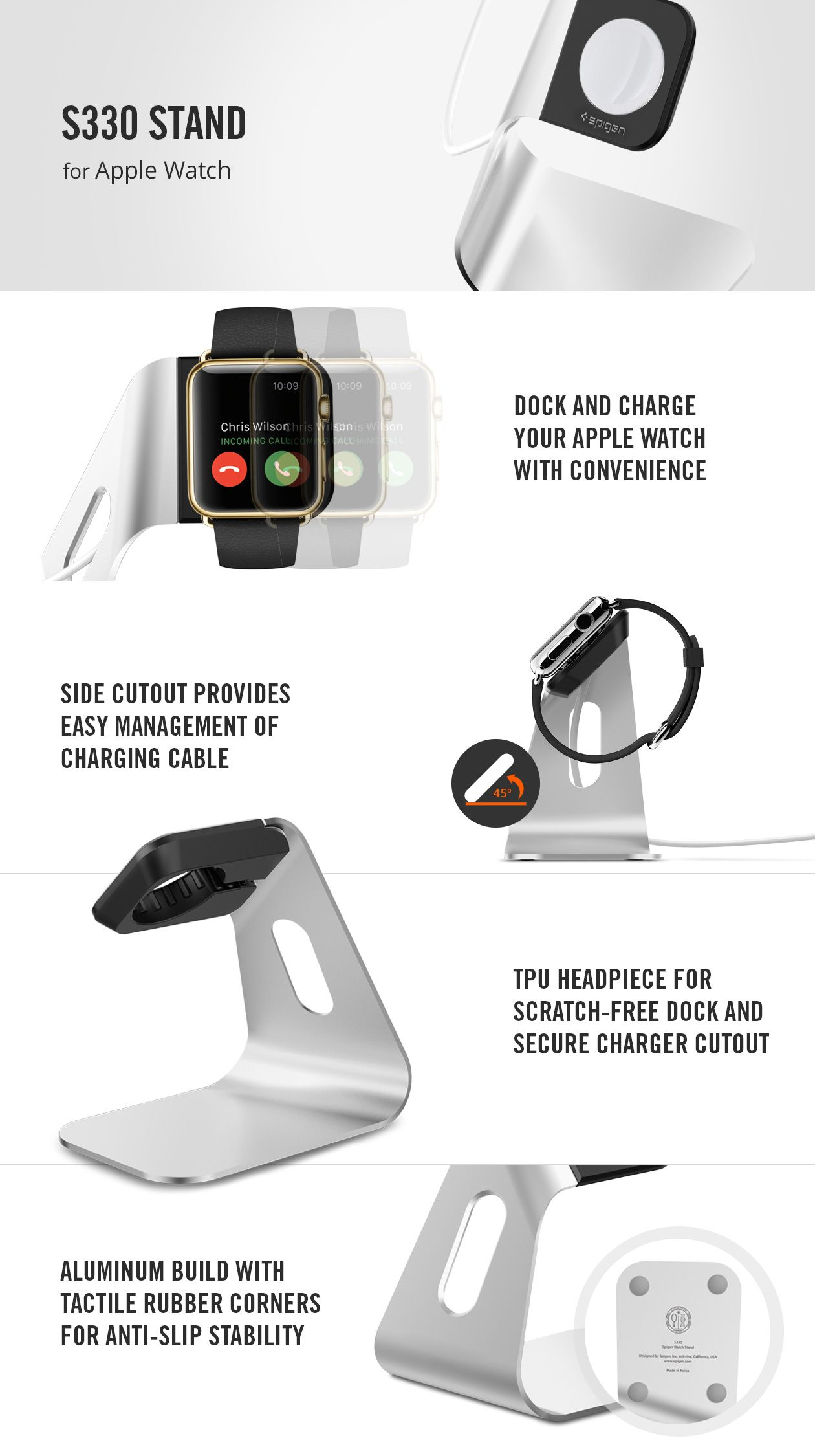 buy online 94065 1c5da Apple Watch Stand S330 | Apple Watch | Spigen apple watch, Apple ...
