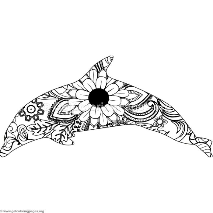Download For Free Zentangle Spinner Dolphin Coloring Pages Coloringbook Coloringpages Animals