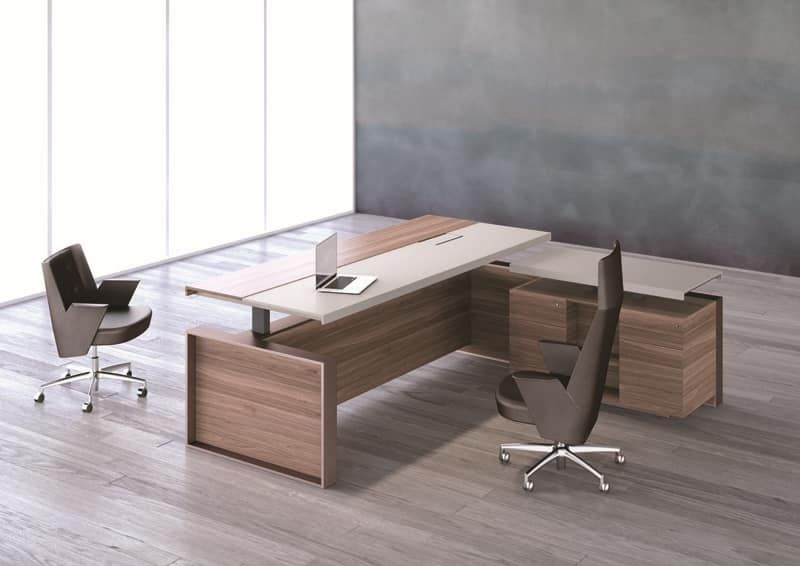 Altagamma executive desk, Offices tables, metal frame, wooden and glass top