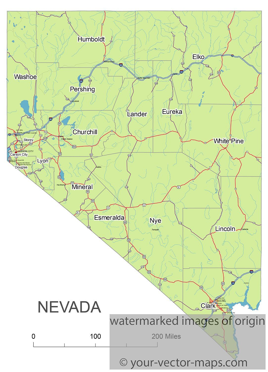 Nevada State Route Network Map Nevada Highways Map Cities Of