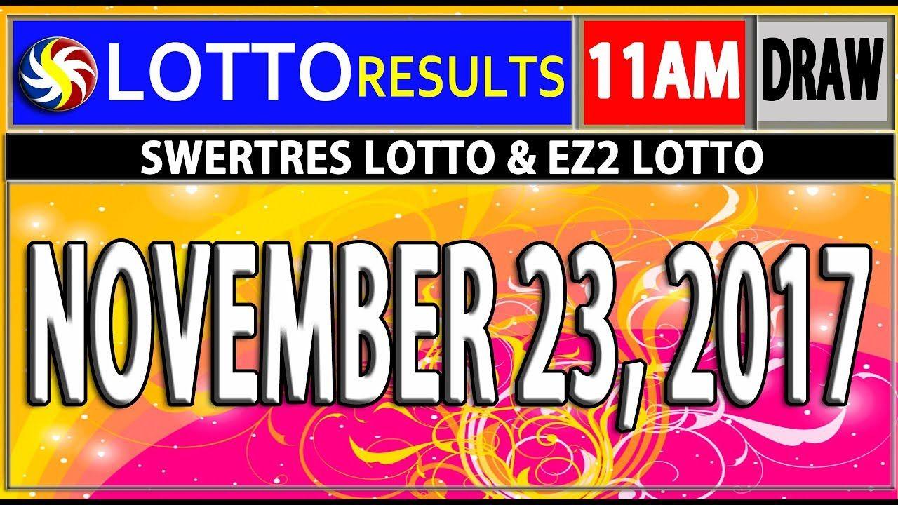 PCS0 11AM LOTTO RESULTS TODAY | NOVEMBER 23, 2017 (SWERTRES & EZ2
